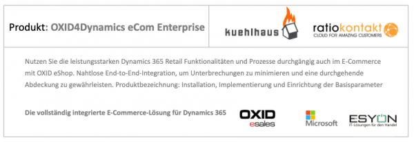 Implementierung OXID 4 Dynamics 365 - Finance & Operations